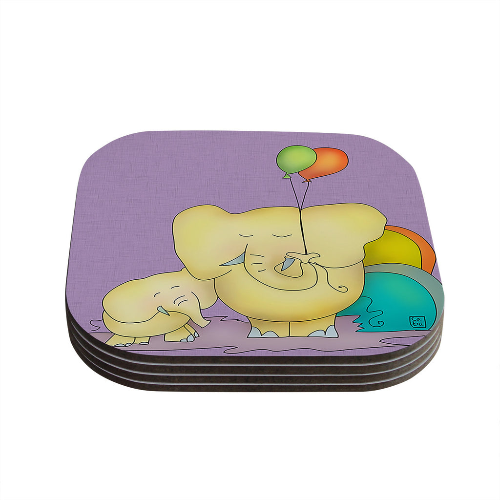 "Carina Povarchik ""Party Time"" Purple Yellow Coasters (Set of 4)"