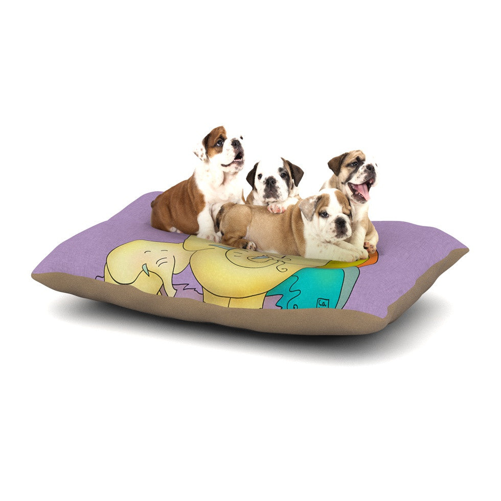 "Carina Povarchik ""Party Time"" Purple Yellow Dog Bed - KESS InHouse  - 1"