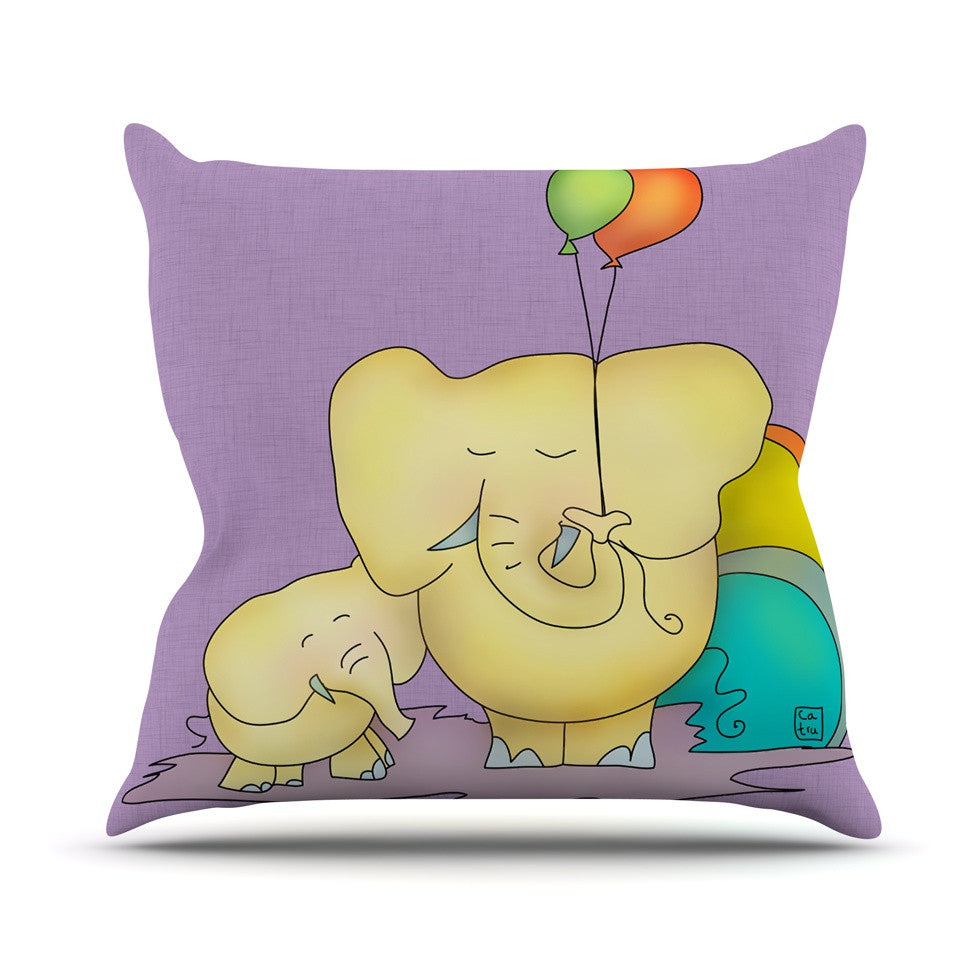 "Carina Povarchik ""Party Time"" Purple Yellow Outdoor Throw Pillow - KESS InHouse  - 1"