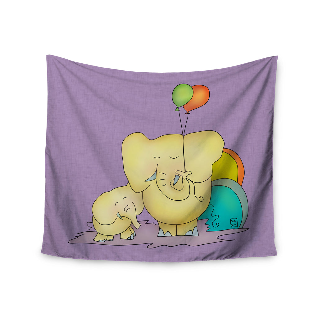 "Carina Povarchik ""Party Time"" Purple Yellow Wall Tapestry - KESS InHouse  - 1"