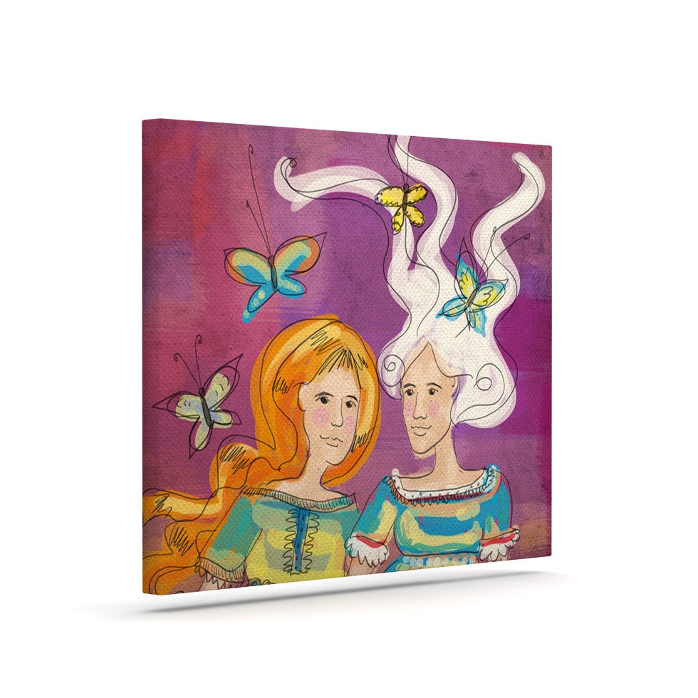 "Carina Povarchik ""Amigas"" Purple People Canvas Art - KESS InHouse  - 1"
