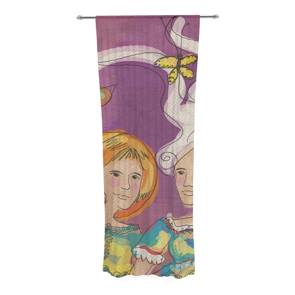 "Carina Povarchik ""Amigas"" Purple People Decorative Sheer Curtain - KESS InHouse  - 1"