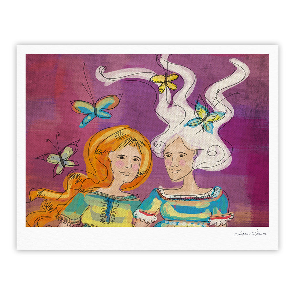 "Carina Povarchik ""Amigas"" Purple People Fine Art Gallery Print - KESS InHouse"