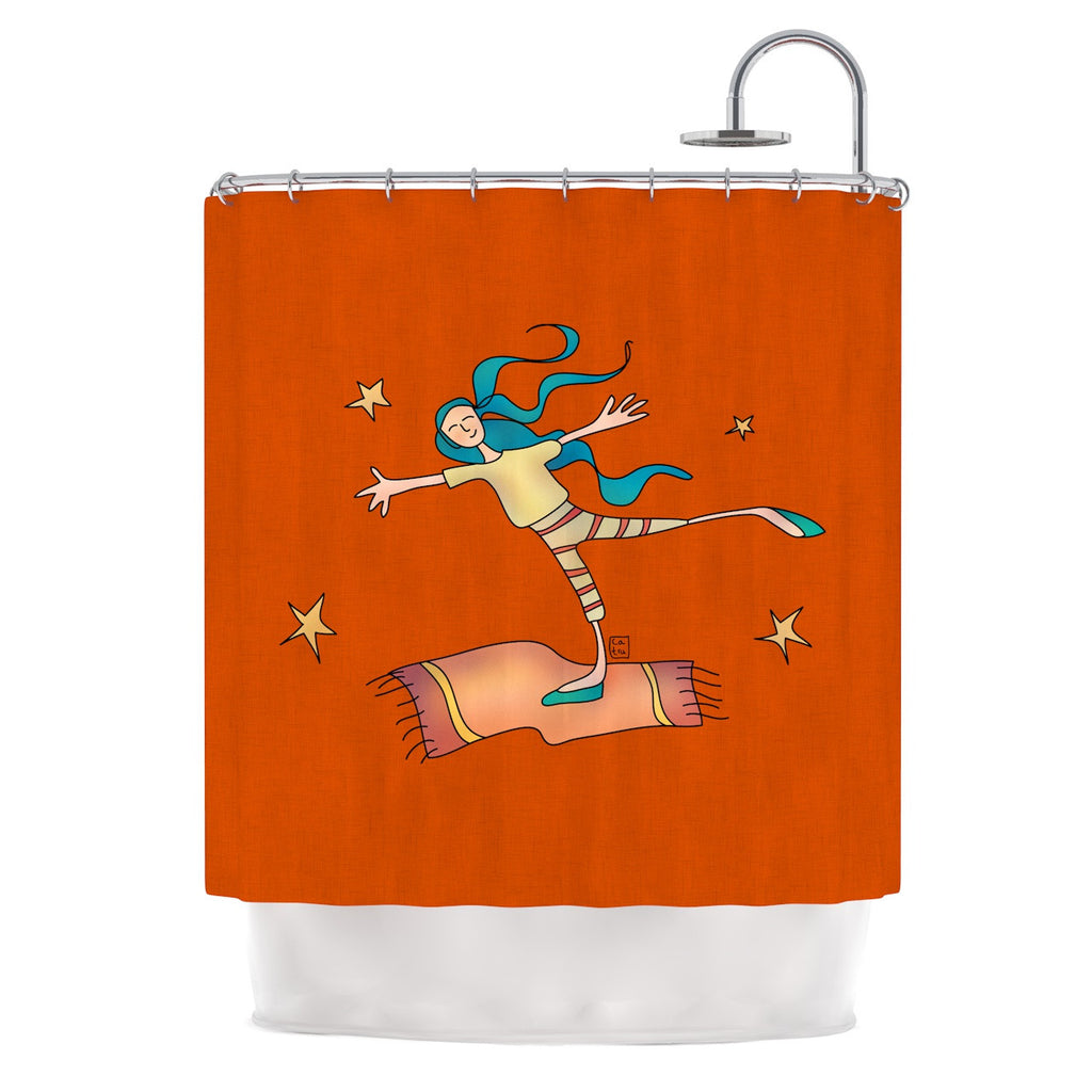 "Carina Povarchik ""Being Free"" Red Shower Curtain - KESS InHouse"