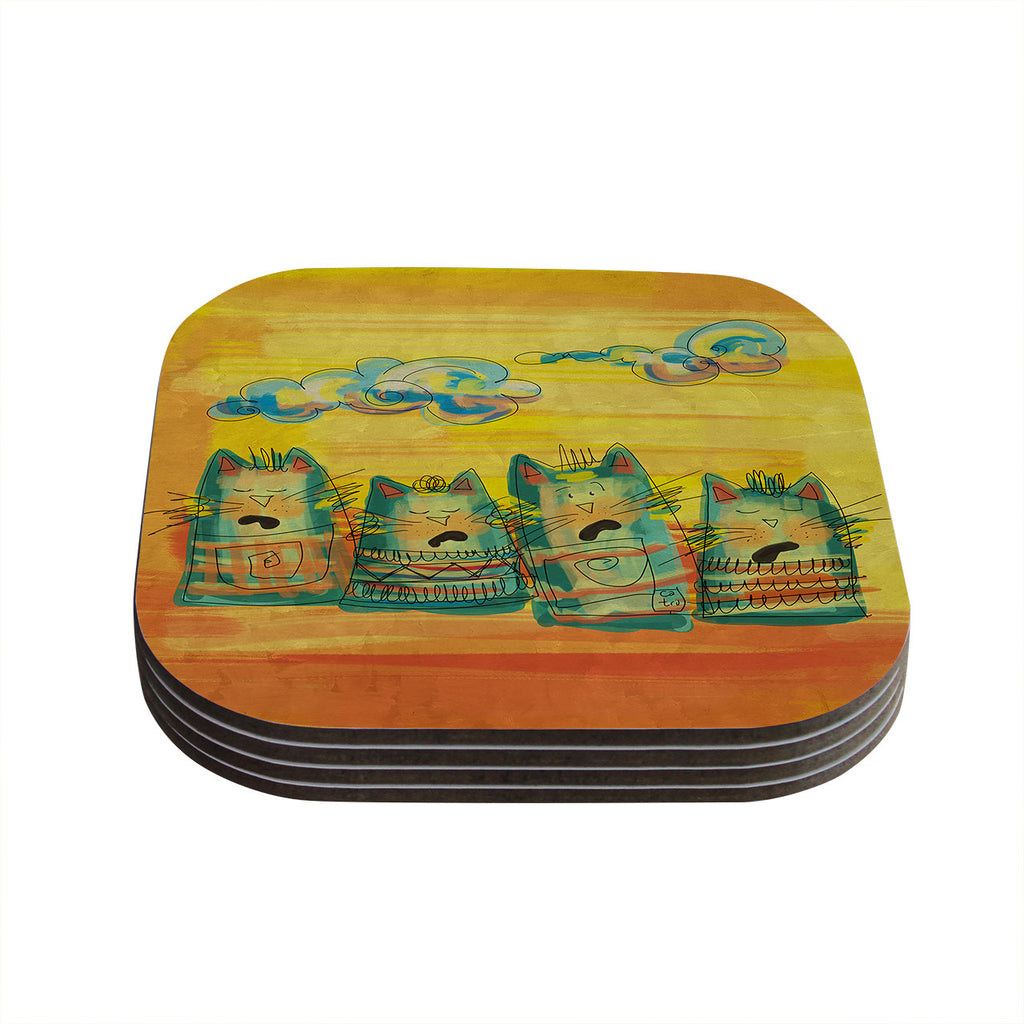 "Carina Povarchik ""Singing Cats"" Yellow Orange Coasters (Set of 4)"