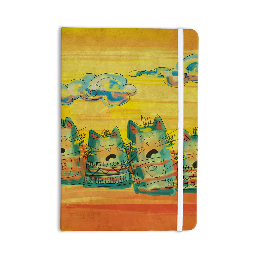 "Carina Povarchik ""Singing Cats"" Yellow Orange Everything Notebook - KESS InHouse  - 1"