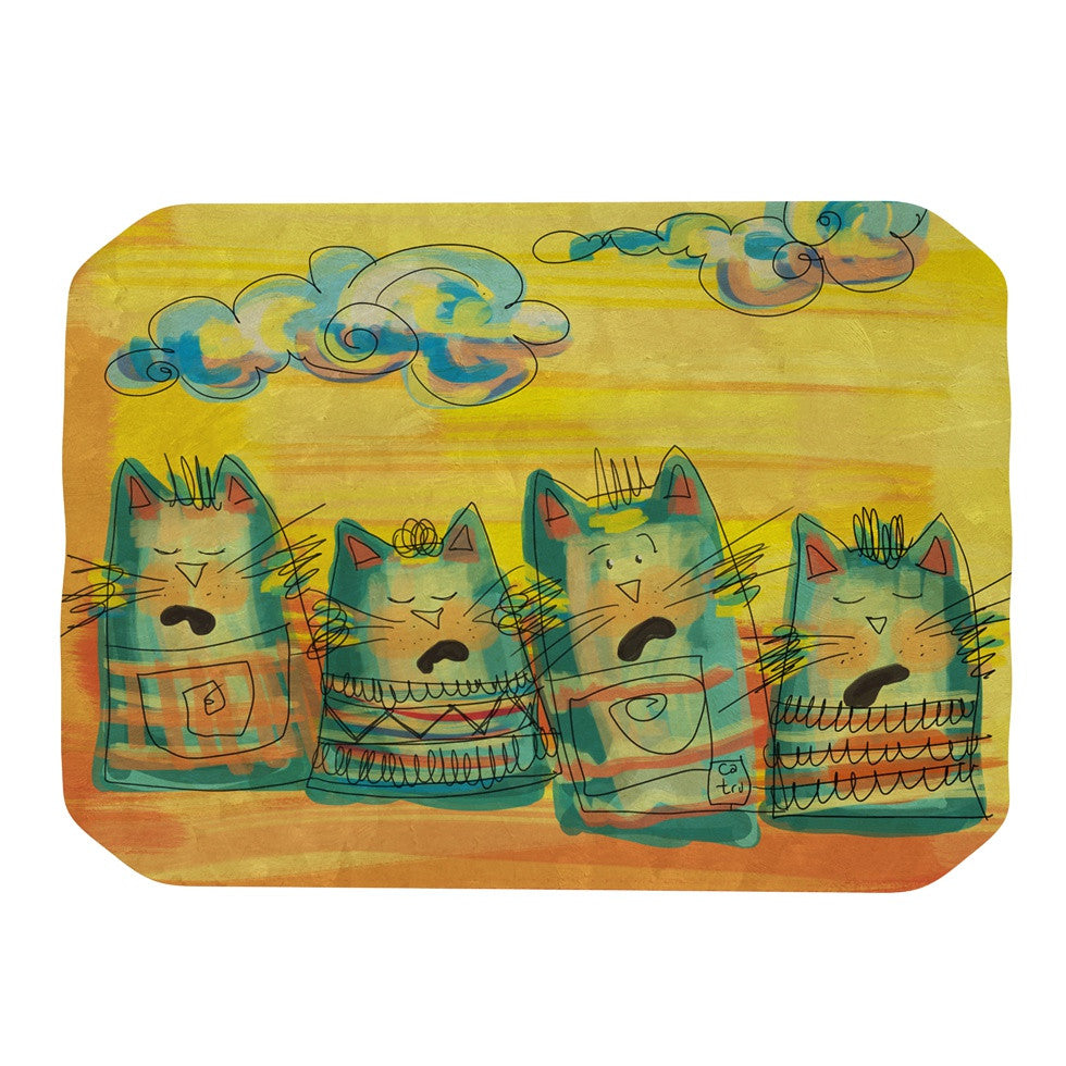 "Carina Povarchik ""Singing Cats"" Yellow Orange Place Mat - KESS InHouse"