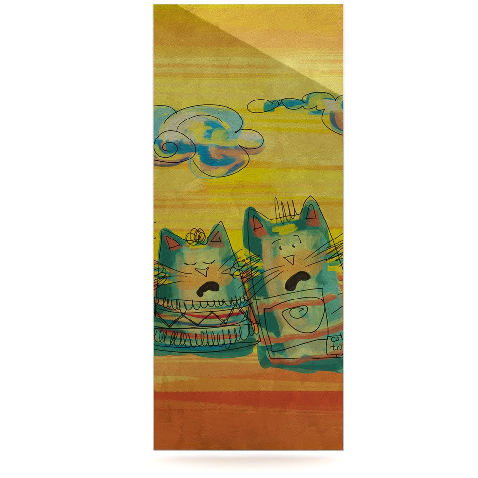"Carina Povarchik ""Singing Cats"" Yellow Orange Luxe Rectangle Panel - KESS InHouse  - 1"