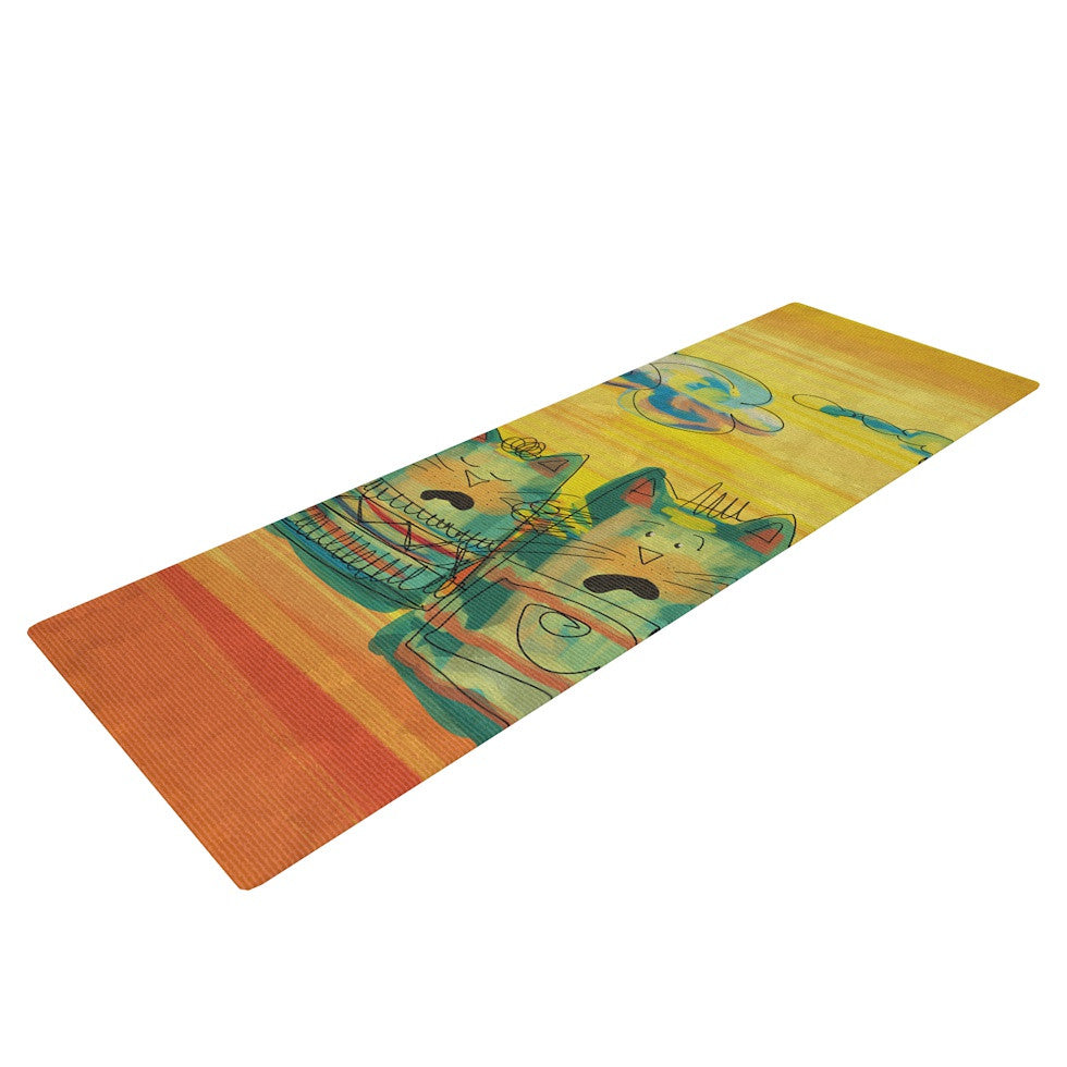 "Carina Povarchik ""Singing Cats"" Yellow Orange Yoga Mat - KESS InHouse  - 1"
