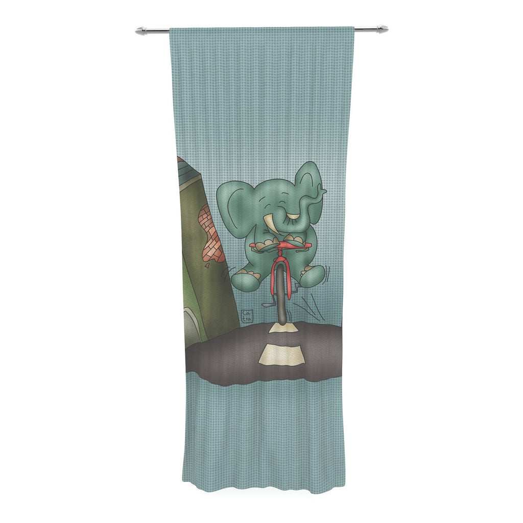 "Carina Povarchik ""Life is Good"" Elephant Blue Decorative Sheer Curtain - KESS InHouse  - 1"