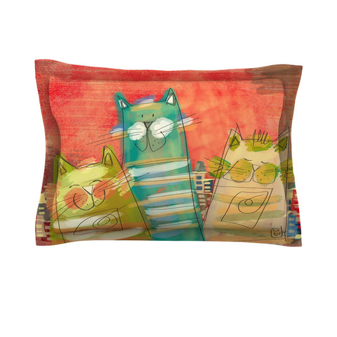 "Carina Povarchik ""Gatos"" Cat Orange Pillow Sham - Outlet Item"