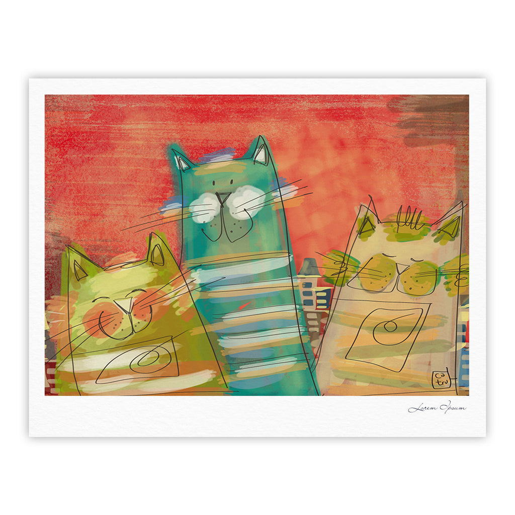 "Carina Povarchik ""Gatos"" Cat Orange Fine Art Gallery Print - KESS InHouse"