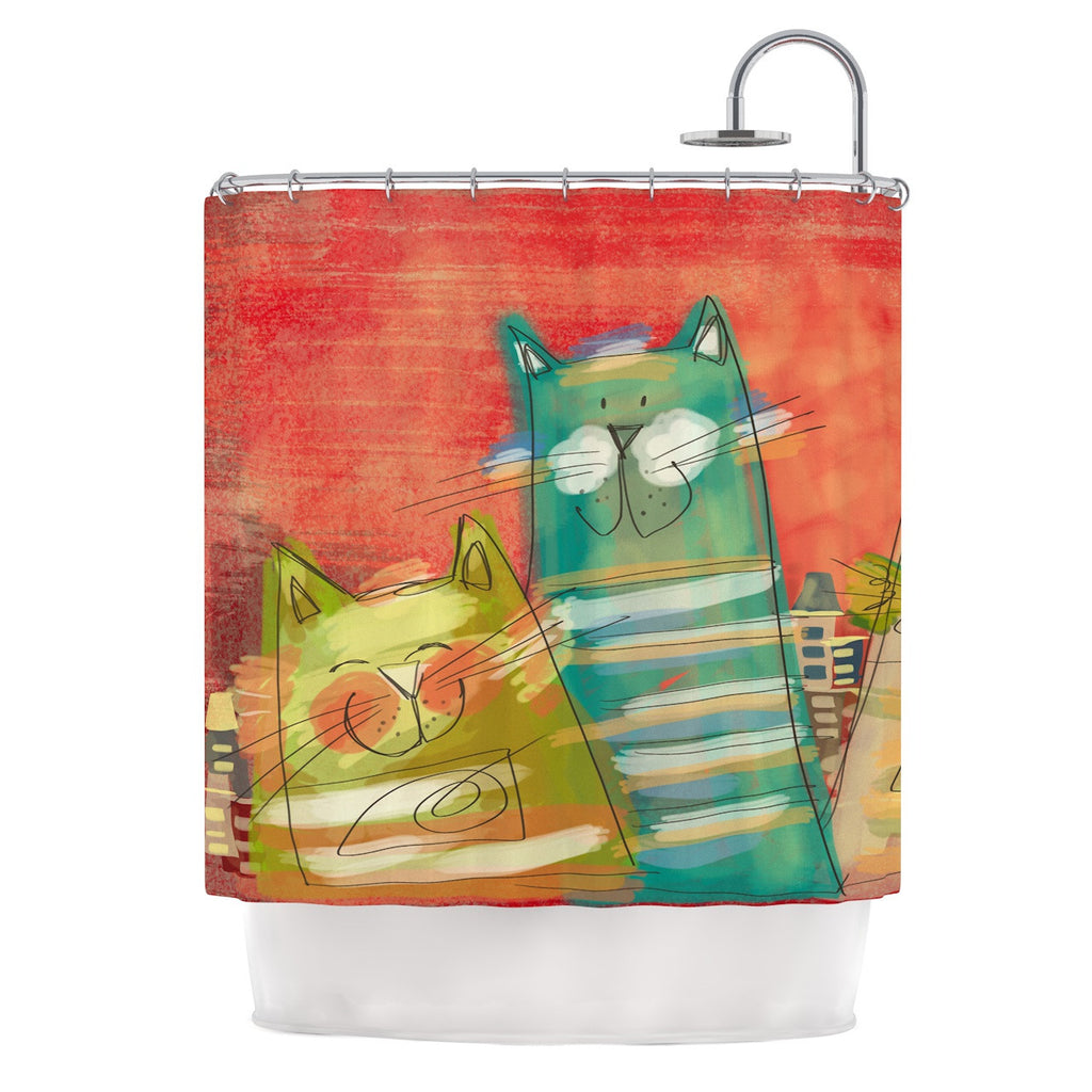 "Carina Povarchik ""Gatos"" Cat Orange Shower Curtain - KESS InHouse"