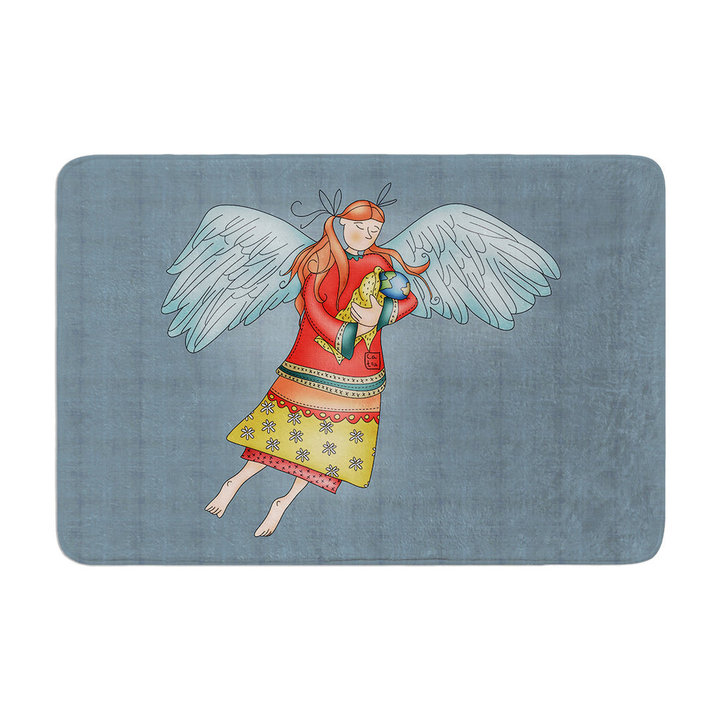 "Carina Povarchik ""Guardian Angel"" Blue Multicolor Memory Foam Bath Mat - KESS InHouse"