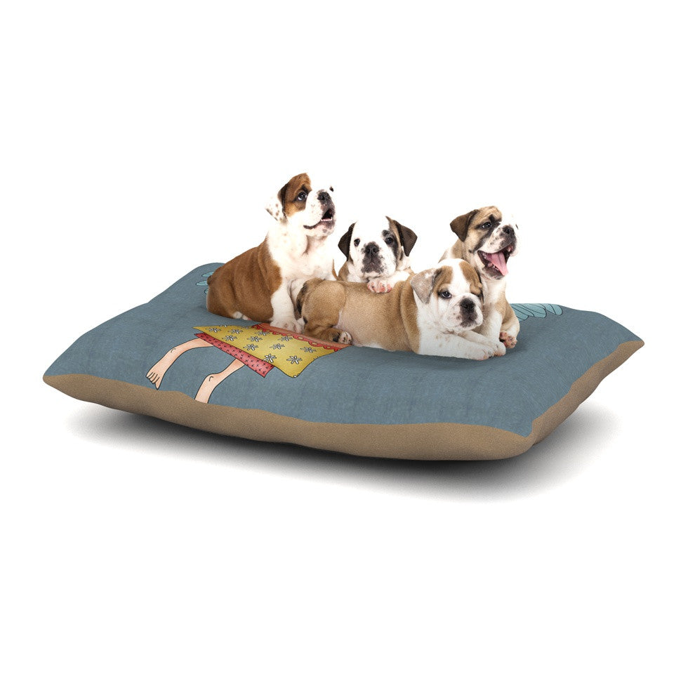 "Carina Povarchik ""Guardian Angel"" Blue Multicolor Dog Bed - KESS InHouse  - 1"