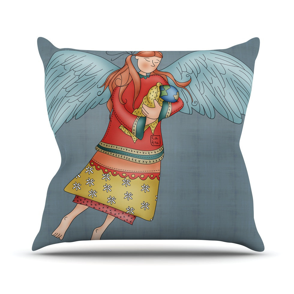 "Carina Povarchik ""Guardian Angel"" Blue Multicolor Outdoor Throw Pillow - KESS InHouse  - 1"