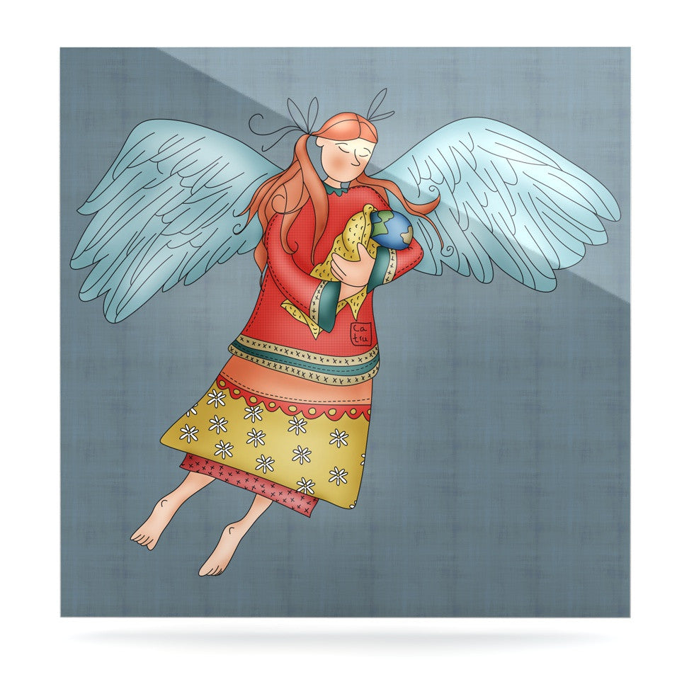 "Carina Povarchik ""Guardian Angel"" Blue Multicolor Luxe Square Panel - KESS InHouse  - 1"