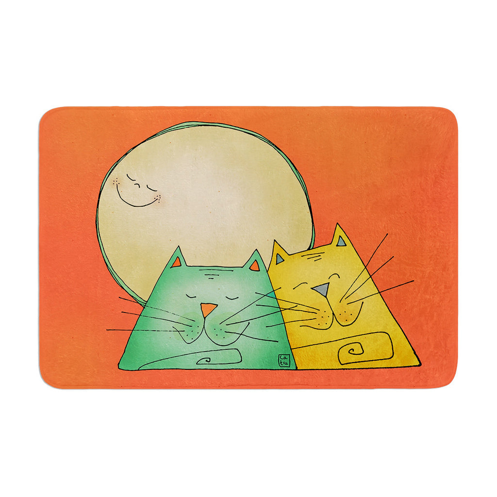 "Carina Povarchik ""2 Gatos Romance"" Love Cats Memory Foam Bath Mat - KESS InHouse"