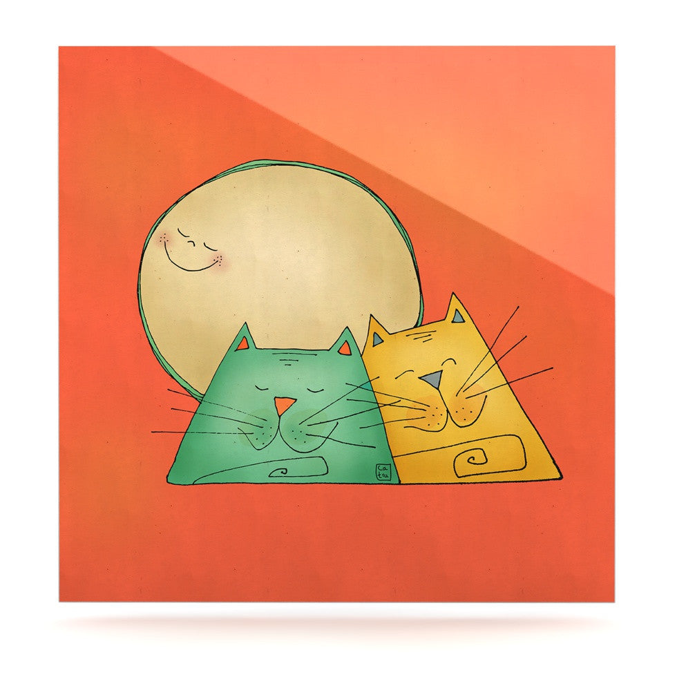 "Carina Povarchik ""2 Gatos Romance"" Love Cats Luxe Square Panel - KESS InHouse  - 1"