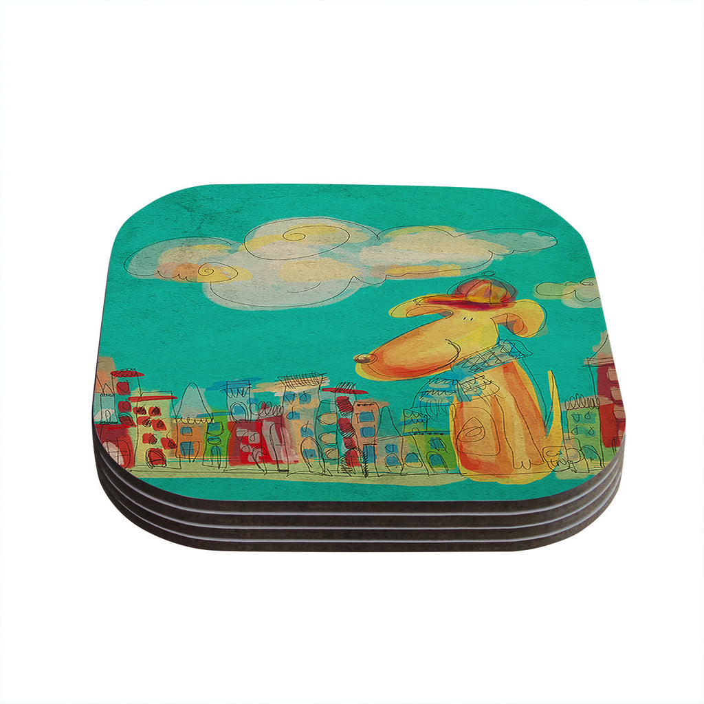 "Carina Povarchik ""Perrito"" Teal Dog Coasters (Set of 4)"
