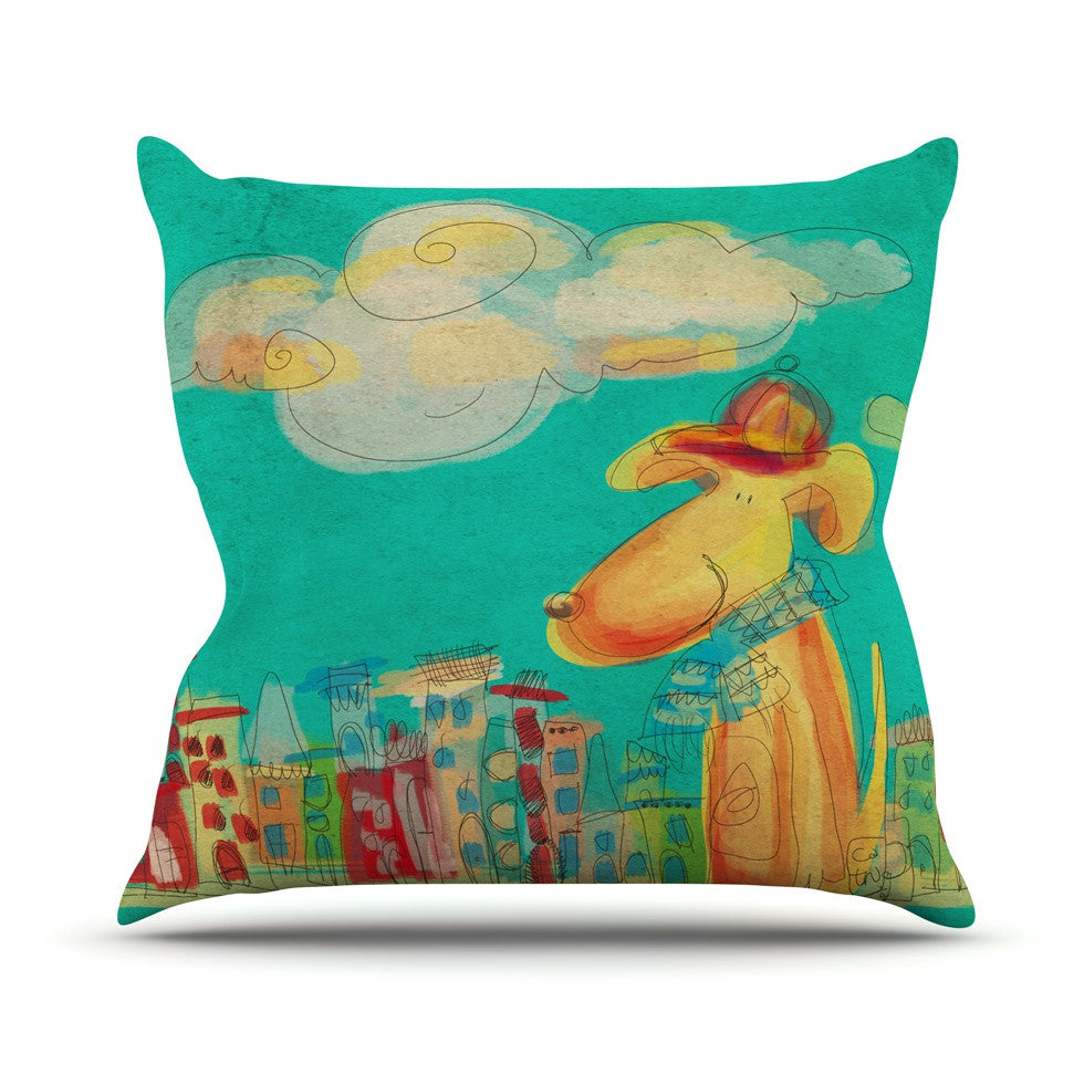"Carina Povarchik ""Perrito"" Teal Dog Outdoor Throw Pillow - KESS InHouse  - 1"