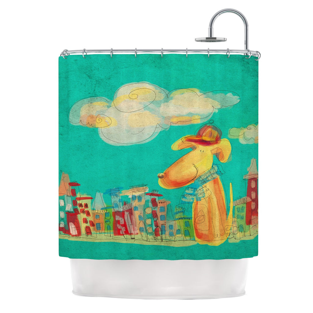 "Carina Povarchik ""Perrito"" Teal Dog Shower Curtain - KESS InHouse"