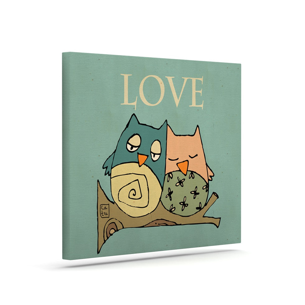 "Carina Povarchik ""Lechuzas Love"" Owls Green Canvas Art - KESS InHouse  - 1"