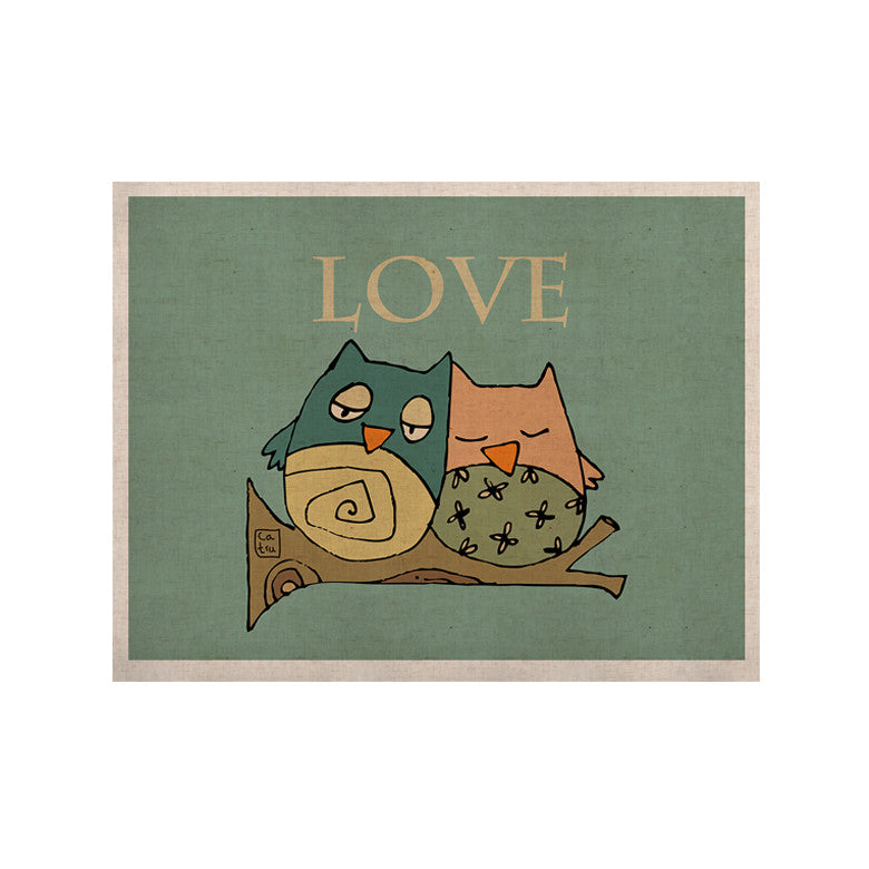 "Carina Povarchik ""Lechuzas Love"" Owls Green KESS Naturals Canvas (Frame not Included) - KESS InHouse  - 1"