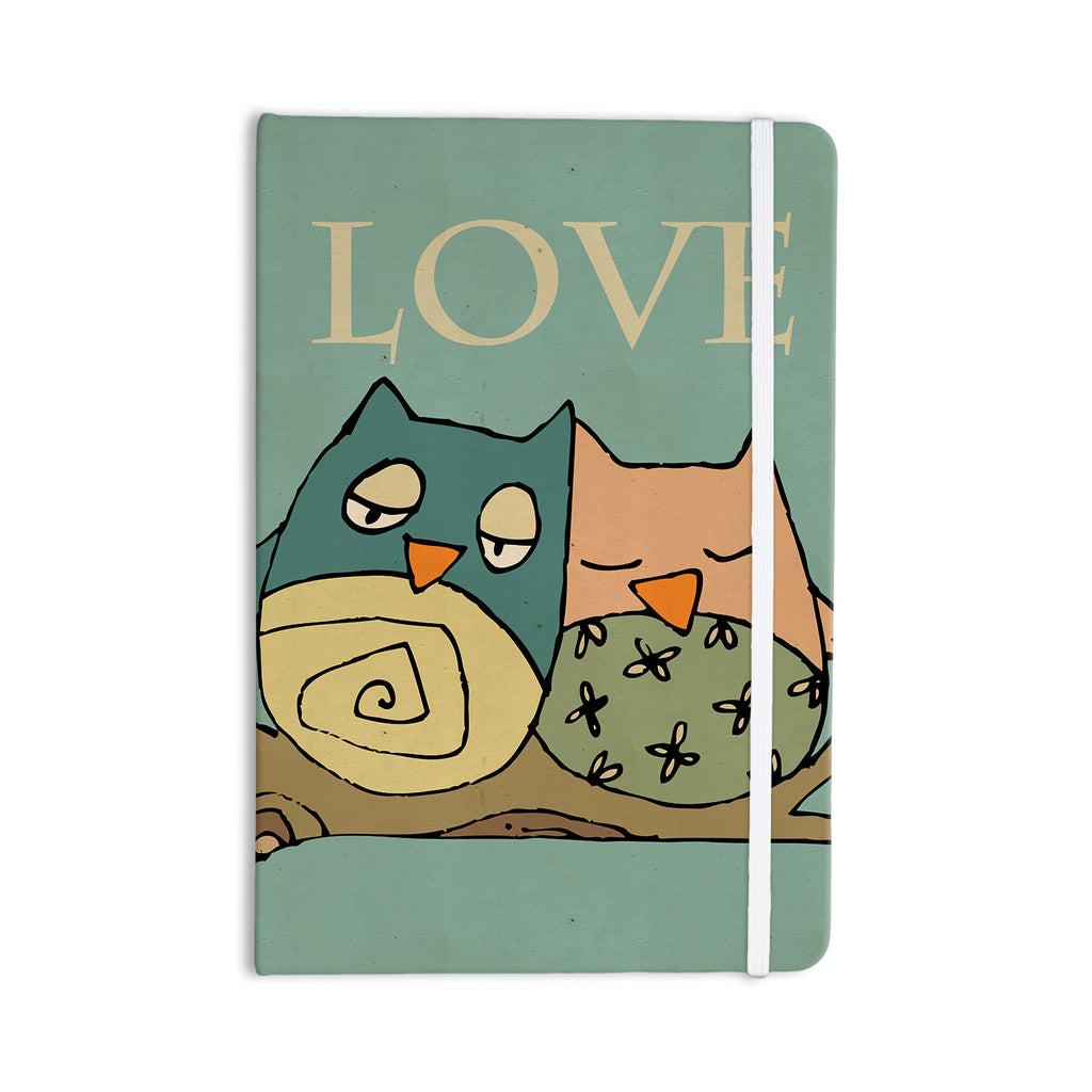 "Carina Povarchik ""Lechuzas Love"" Owls Green Everything Notebook - KESS InHouse  - 1"
