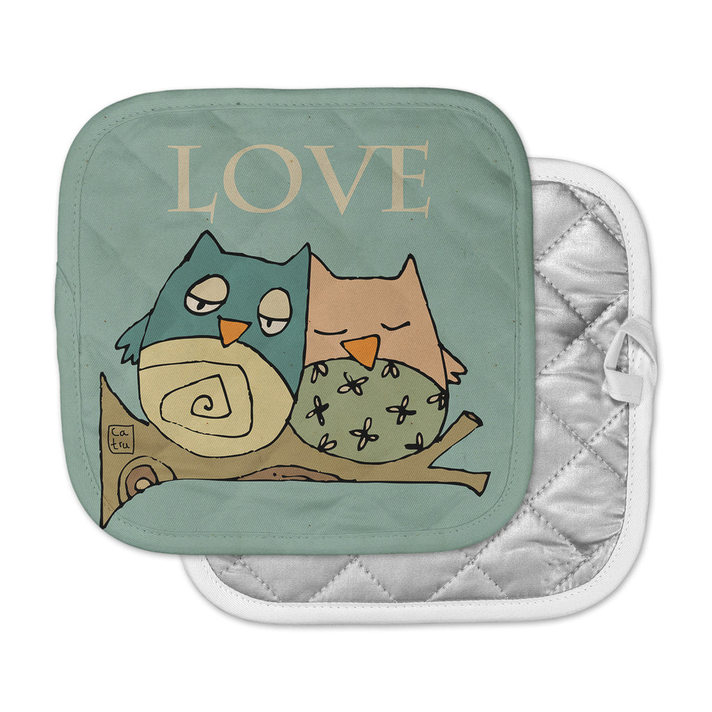 "Carina Povarchik ""Lechuzas Love"" Owls Green Pot Holder"