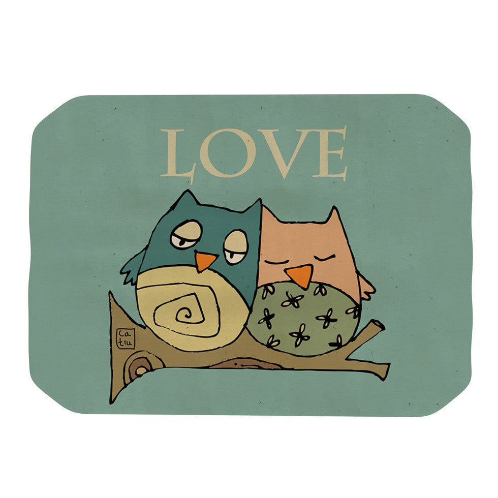 "Carina Povarchik ""Lechuzas Love"" Owls Green Place Mat - KESS InHouse"