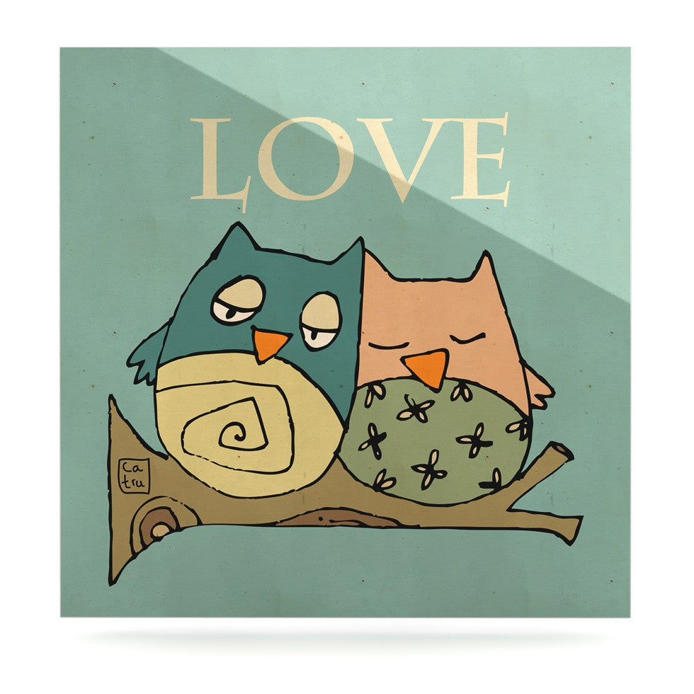 "Carina Povarchik ""Lechuzas Love"" Owls Green Luxe Square Panel - KESS InHouse  - 1"