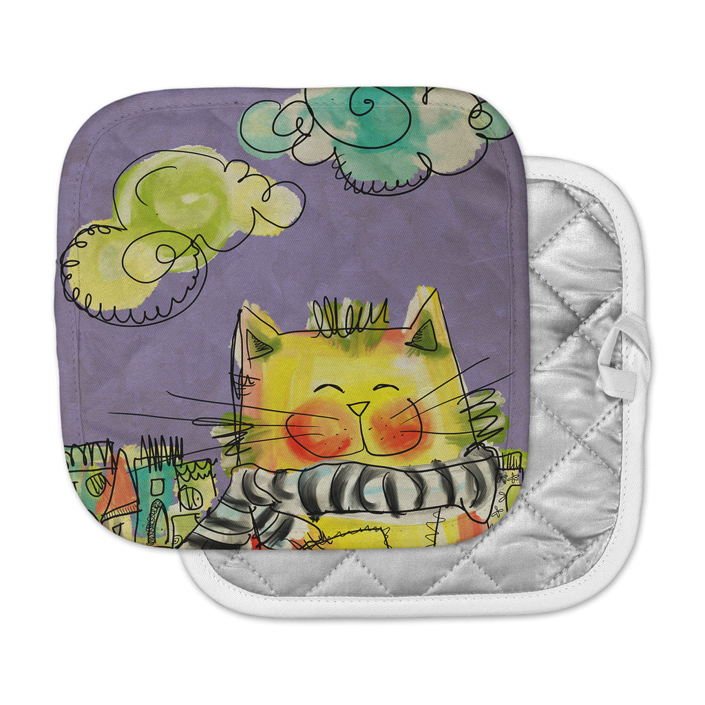 "Carina Povarchik ""Urban Cat With Scarf"" Yellow Illustration Pot Holder"