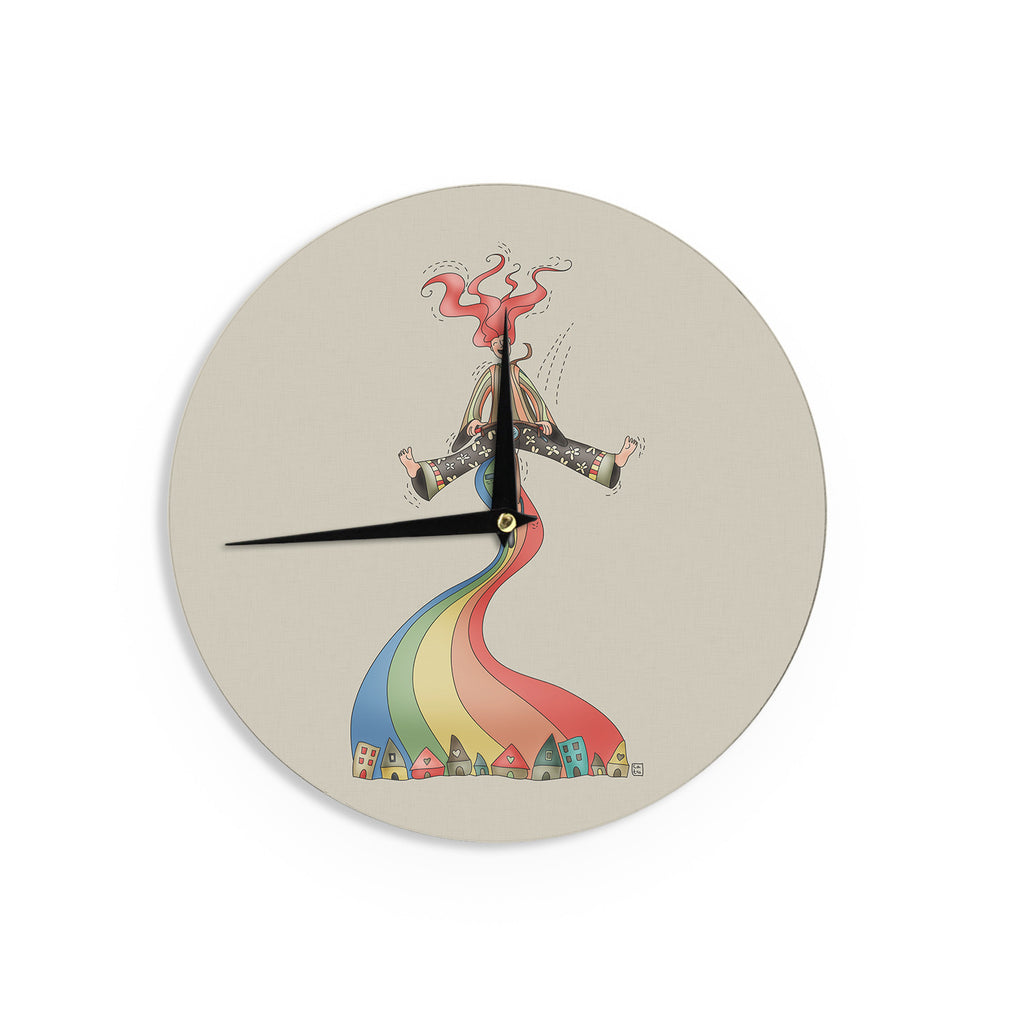 "Carina Povarchik ""Weeeee"" Fantasy Illustration Wall Clock - KESS InHouse"