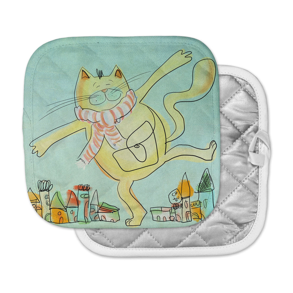 "Carina Povarchik ""Dancing Cat In The City"" Blue Yellow Pot Holder"