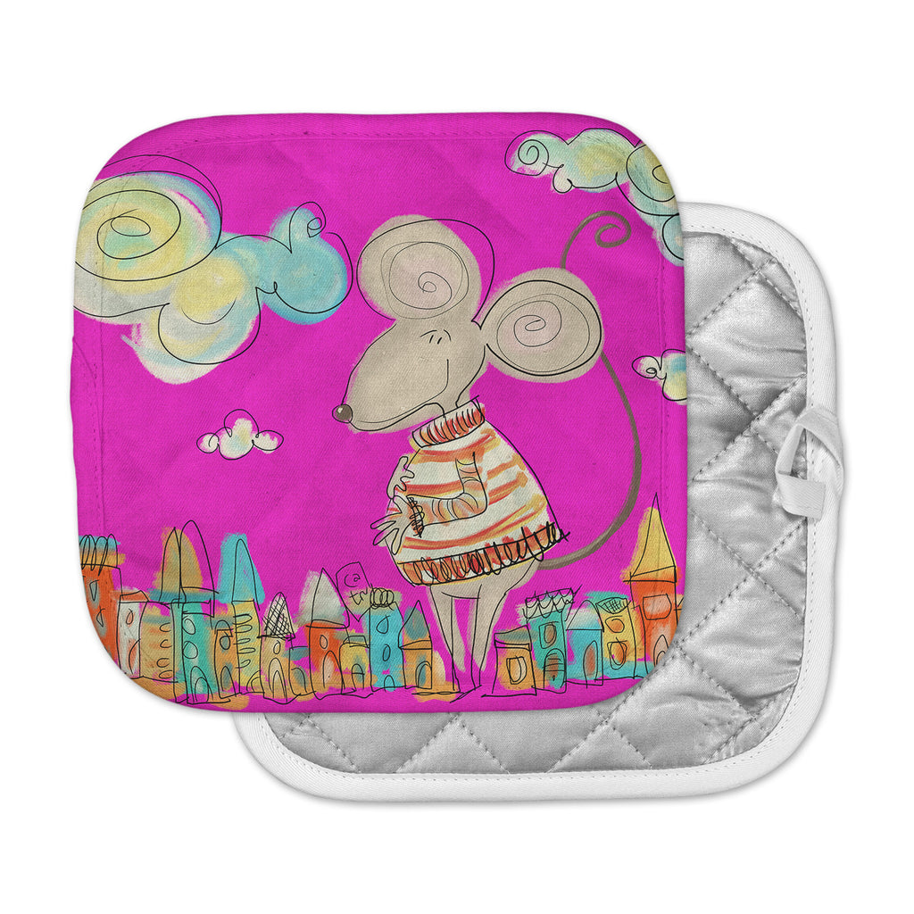 "Carina Povarchik ""Urban Mouse - Magenta"" Pink Yellow Pot Holder"