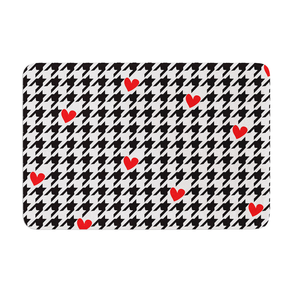 "Empire Ruhl ""Spacey Houndstooth Heart"" Memory Foam Bath Mat - KESS InHouse"