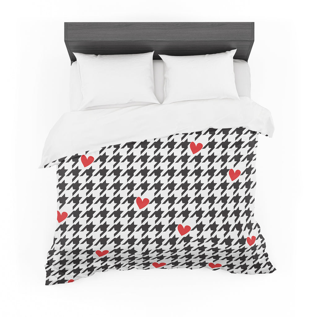 "Empire Ruhl ""Spacey Houndstooth Heart"" Featherweight Duvet Cover"