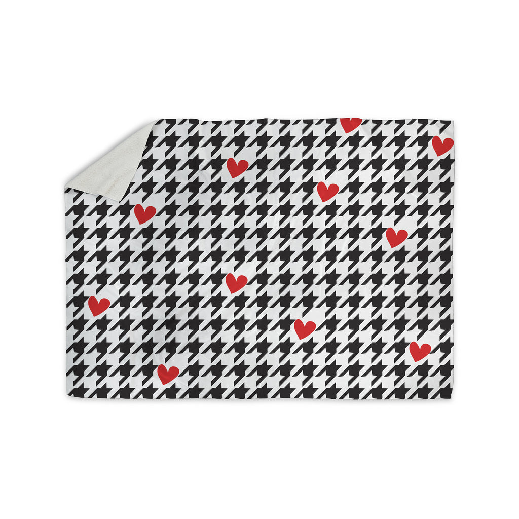 "Empire Ruhl ""Spacey Houndstooth Heart"" Sherpa Blanket - KESS InHouse  - 1"