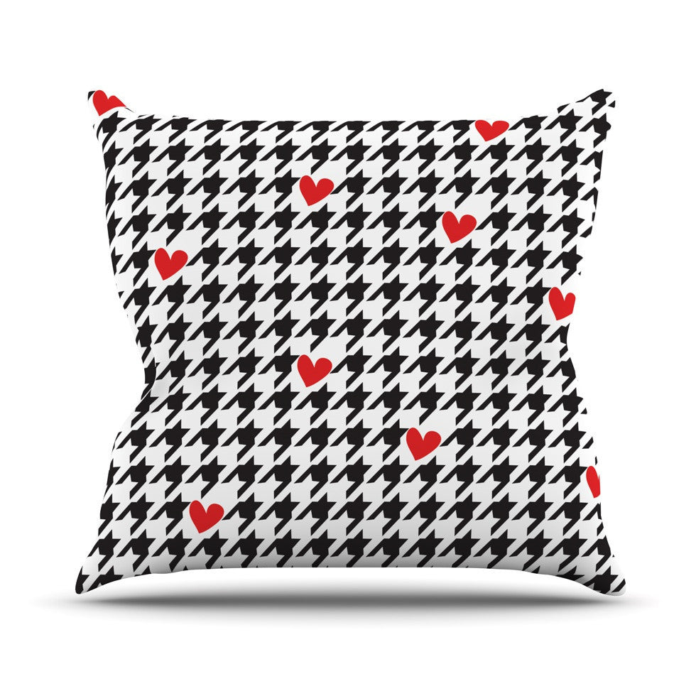 "Empire Ruhl ""Spacey Houndstooth Heart"" Outdoor Throw Pillow - KESS InHouse  - 1"