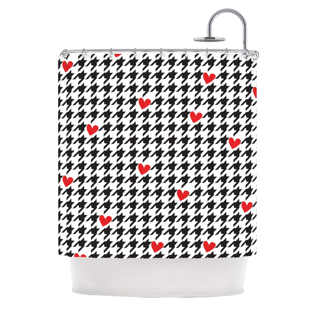 "Empire Ruhl ""Spacey Houndstooth Heart"" Shower Curtain - KESS InHouse"