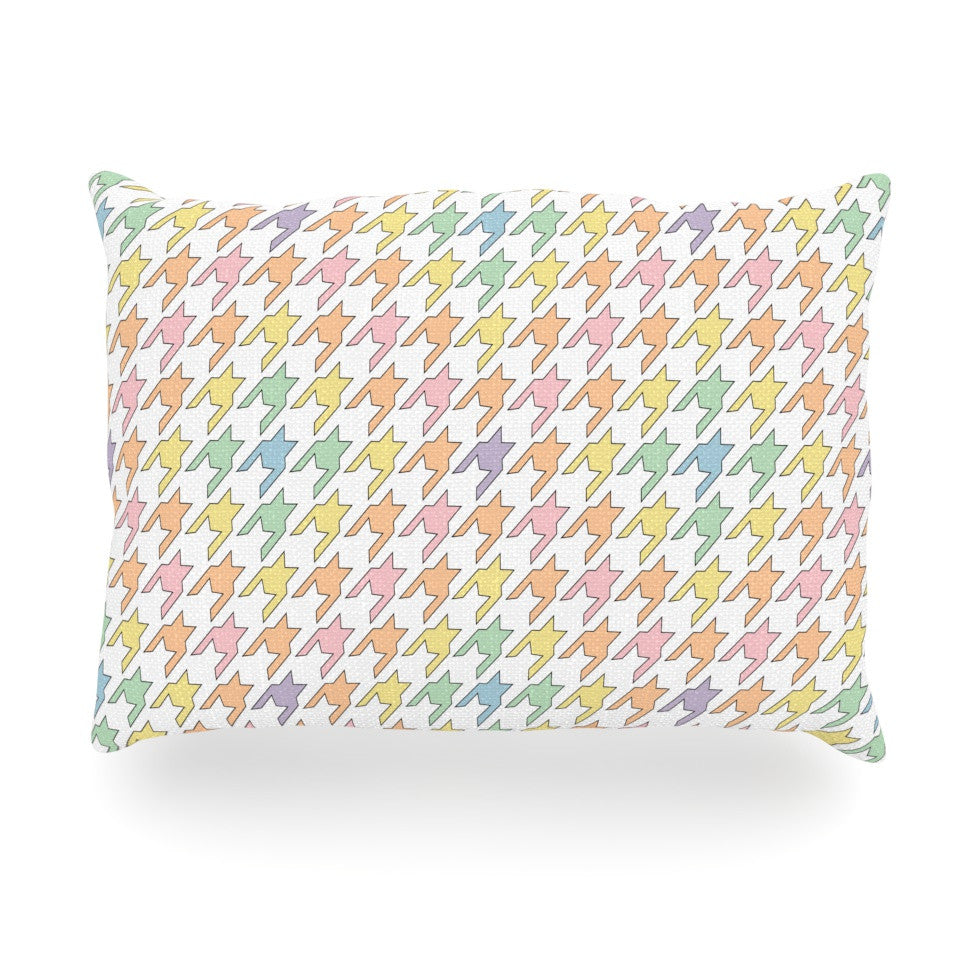 "Empire Ruhl ""Pastel Houndstooth"" Oblong Pillow - KESS InHouse"