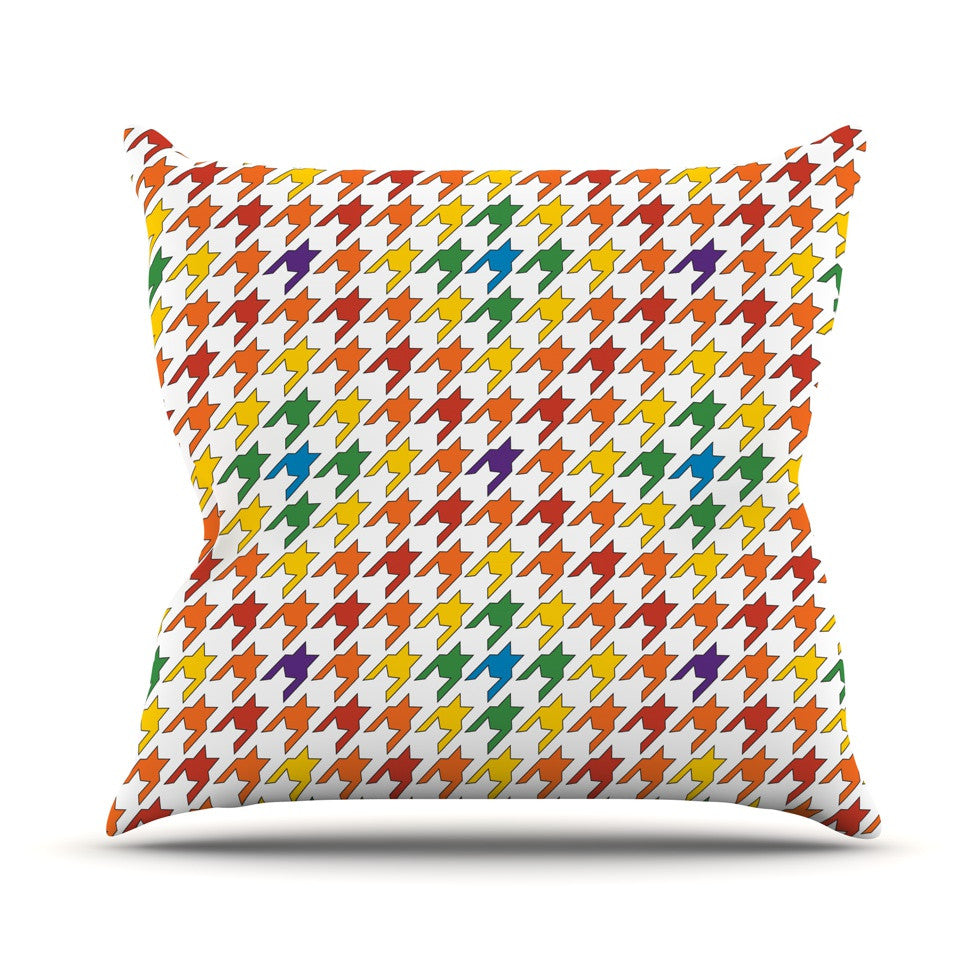 "Empire Ruhl ""Rainbow Houndstooth"" Throw Pillow - KESS InHouse  - 1"