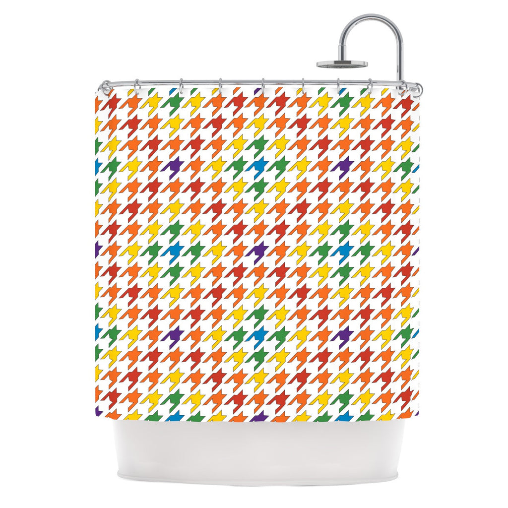 "Empire Ruhl ""Rainbow Houndstooth"" Shower Curtain - KESS InHouse"