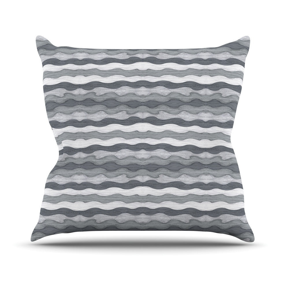 "Empire Ruhl ""51 Shades of Gray"" Gray White Outdoor Throw Pillow - KESS InHouse  - 1"
