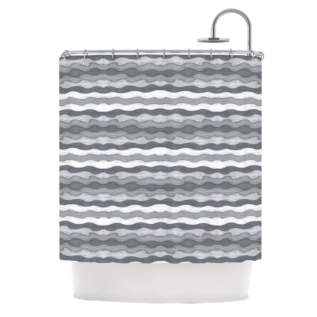 "Empire Ruhl ""51 Shades of Gray"" Gray White Shower Curtain - KESS InHouse"