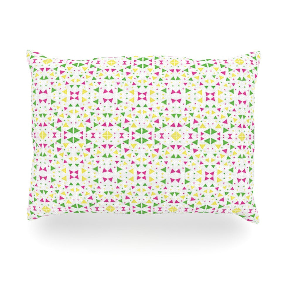"Empire Ruhl ""Neon Triangles"" Pink Green Oblong Pillow - KESS InHouse"