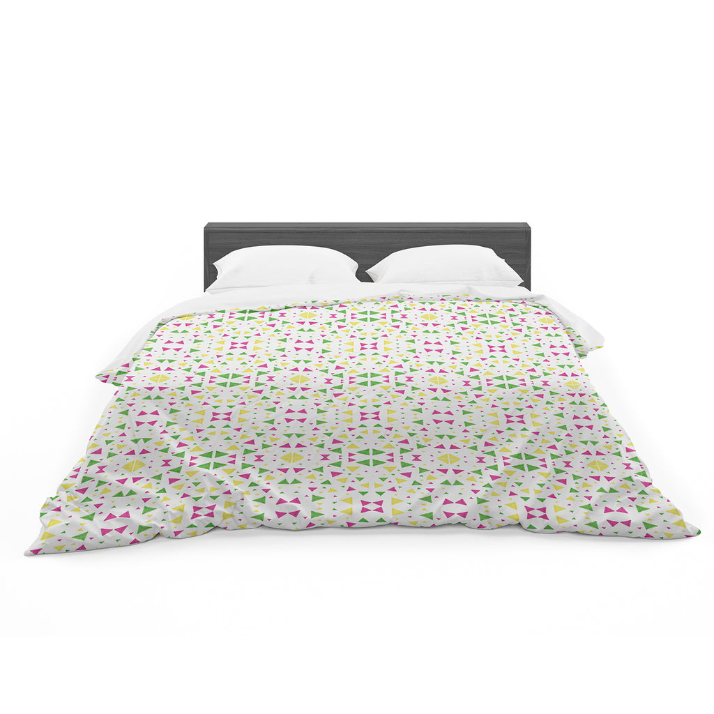 "Empire Ruhl ""Neon Triangles"" Pink Green Featherweight Duvet Cover"