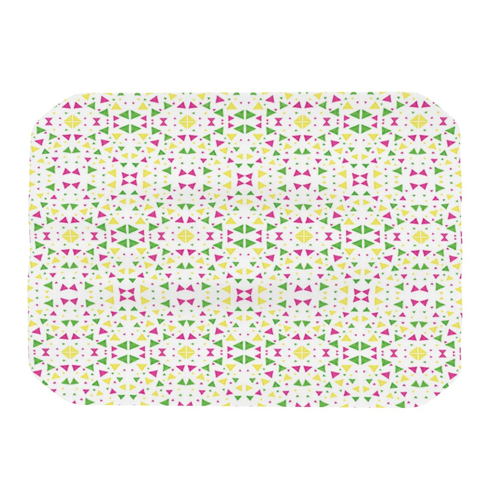 "Empire Ruhl ""Neon Triangles"" Pink Green Place Mat - KESS InHouse"