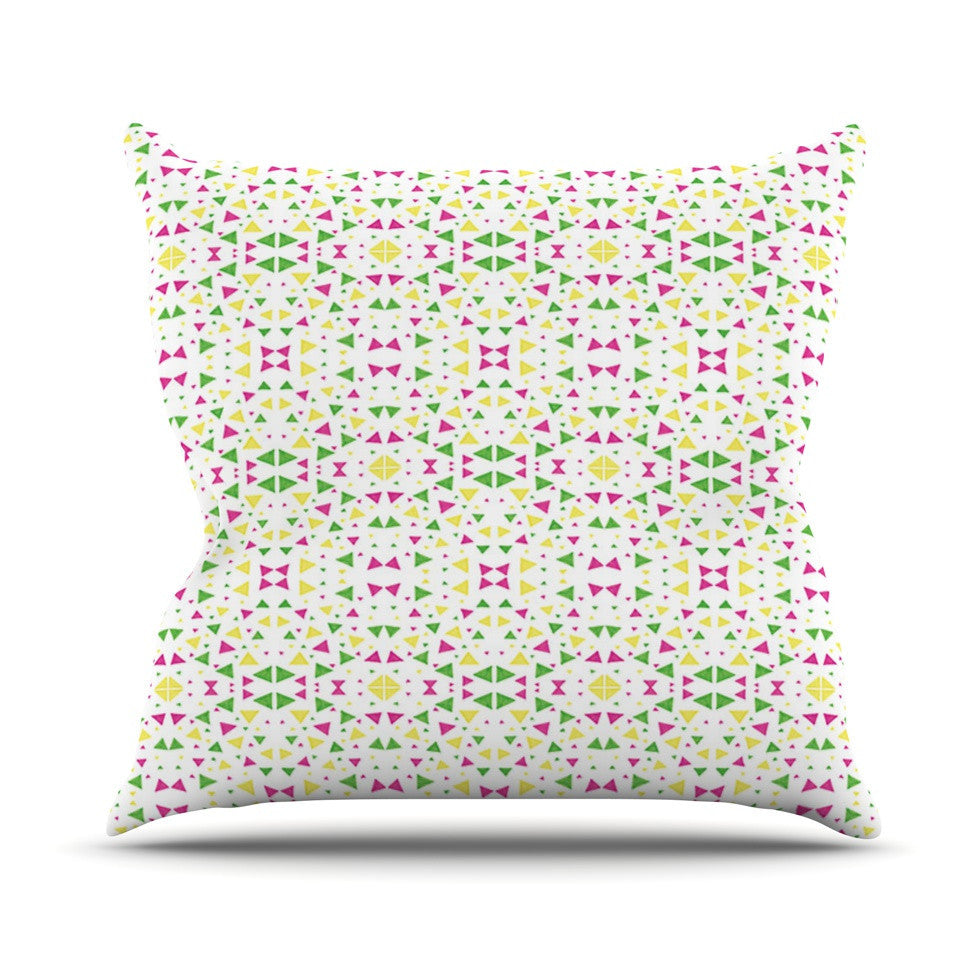 "Empire Ruhl ""Neon Triangles"" Pink Green Outdoor Throw Pillow - KESS InHouse  - 1"